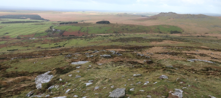 Looking west, Rough Tor at top right. Fernacre stone circle is just behind the group of trees in the centre.