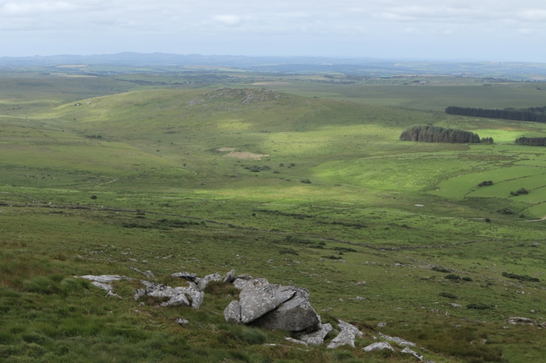 From Brown Willy looking south-west. Garrow Tor has settlements and field systems on its flanks.