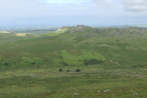 Rough Tor from Brown Willy. The ruins and fields in the foreground are medieval but those on the left slope of Rough Tor are older.