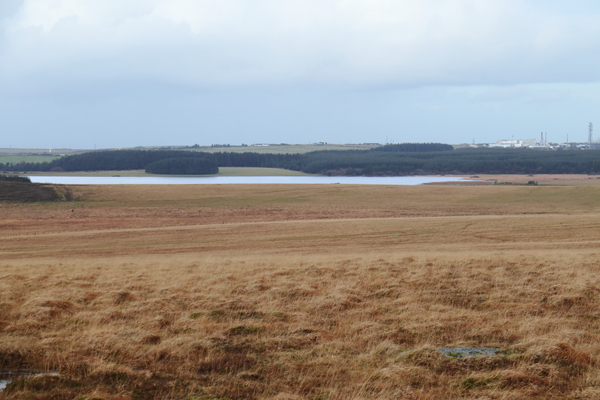 Crowdy Reservoir and the Dairy Crest Creamery near Davidstow Airfield