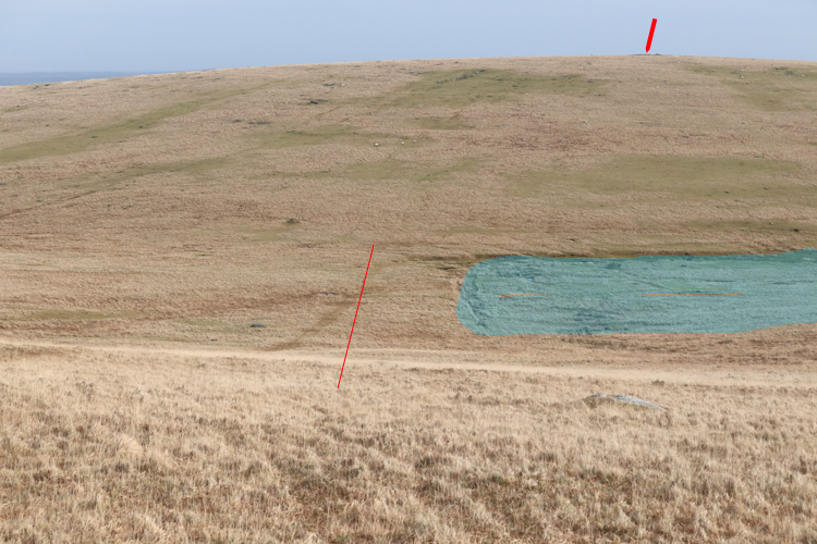 Buttern Hill, arrow at top. Follow the red line and avoid the shaded area