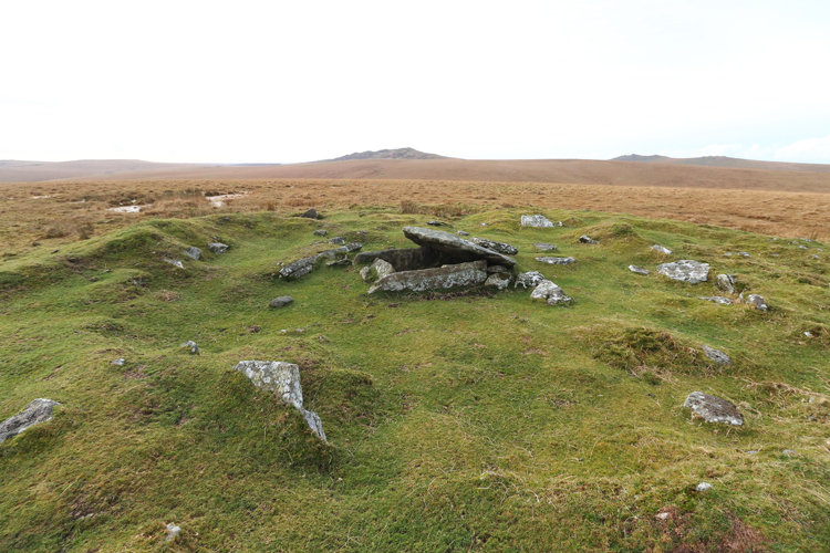Buttern Hill cairn and cist with Brown Willy and Rough Tor behind