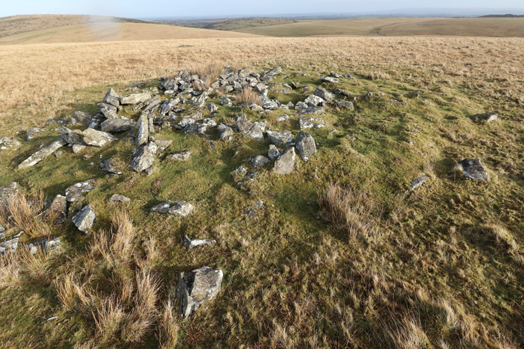 Large kerbed cairn at top of Leskernick Hill