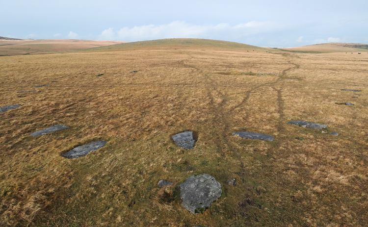 Leskernick stone circle with Leskernick Hill behind